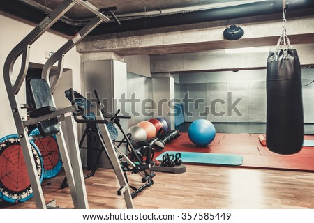 Empty boxing area in the gym - stock photo