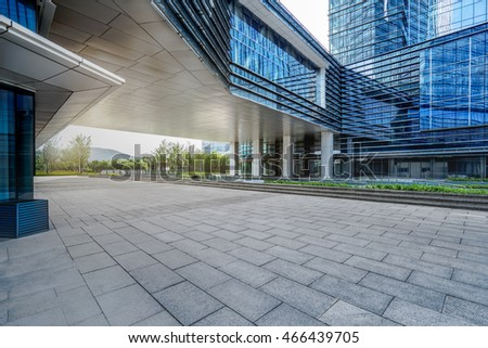 empty brick floor with cityscape and skyline
