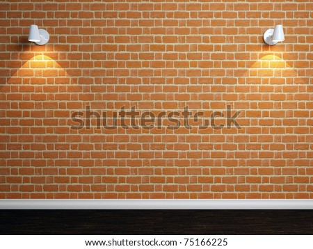 Empty brick wall with two spot lights. 3d illustration. - stock photo
