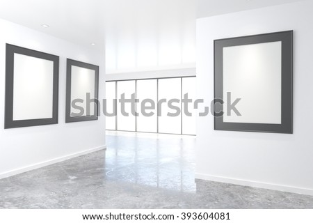 Empty bright art gallery with blank pictures on the walls, mock up, 3D Render - stock photo