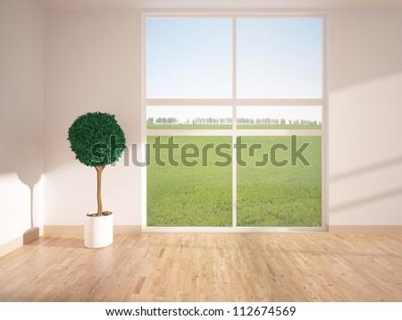 empty bright room - stock photo