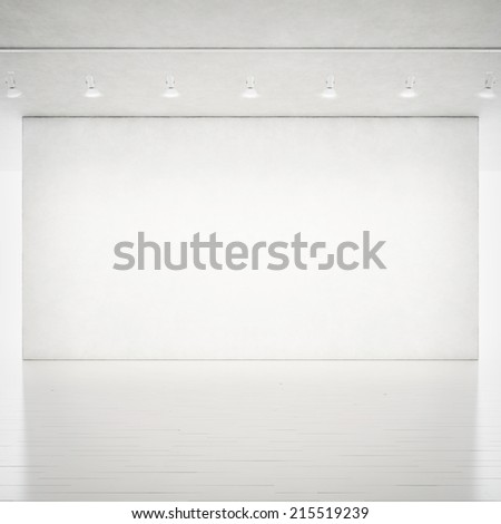 Empty bright room interior. Wall with spotlights. - stock photo
