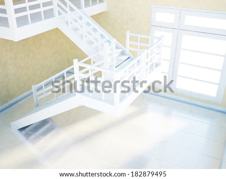 empty bright room with the window and the stairs