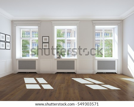 empty bright room with windows and parquet.