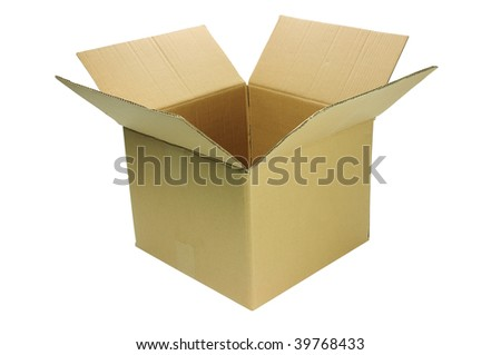 empty brown cardboard box busting open isolated with clipping path