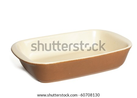 empty brown ceramic rectangular baking dish isolated with clipping path