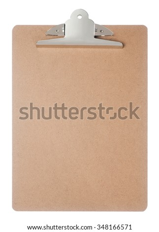 Empty brown clipboard isolated on white