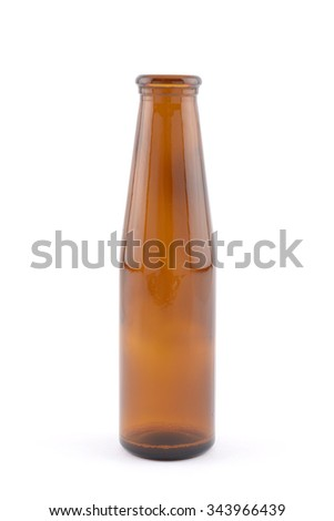 Empty brown glass bottle isolated over white background - stock photo