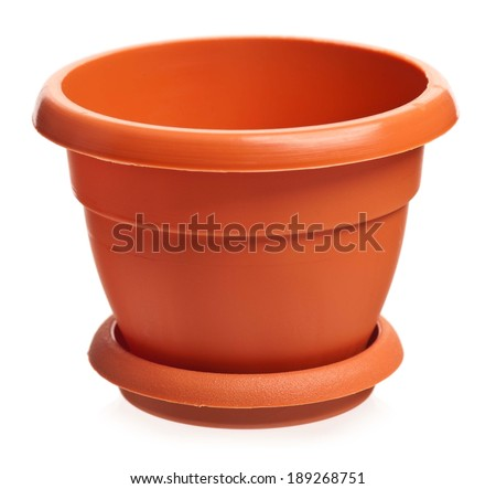 Empty brown houseplant pot isolated on white background - stock photo