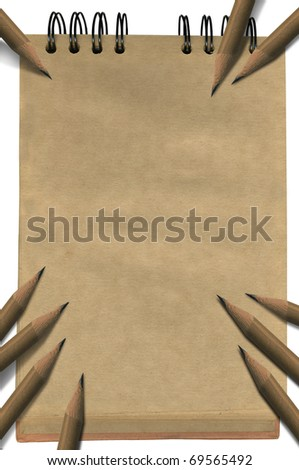 Empty brown notepad with pencils