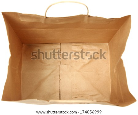 Empty brown paper bag from top view looking down inside at bottom. - stock photo