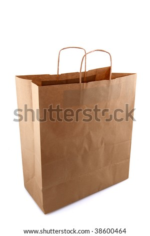 Empty brown paper bag isolated over white
