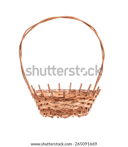 Empty brown wicker basket. Isolated on a white background.