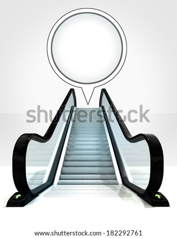 empty bubble above escalator leading to upwards concept illustration - stock photo