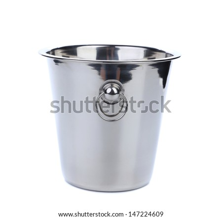 Empty bucket for champagne bottle.