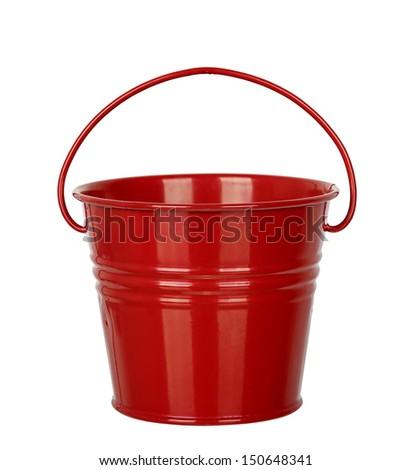 empty bucket isolated on white - stock photo