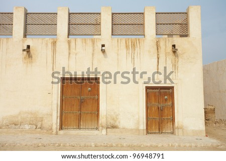 Empty buildings in the desert town of Al Wakrah (Al Wakra), Qatar, in the Middle East