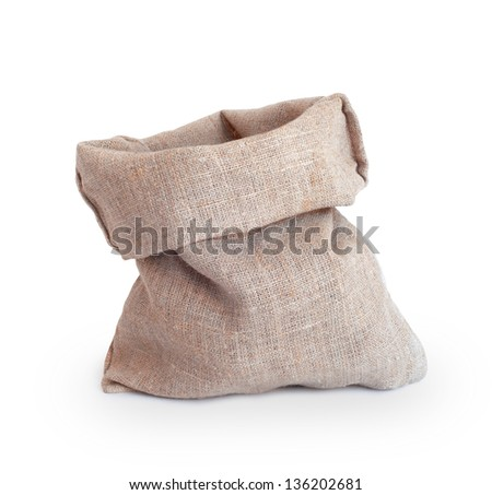Empty burlap sack isolated on white background - stock photo
