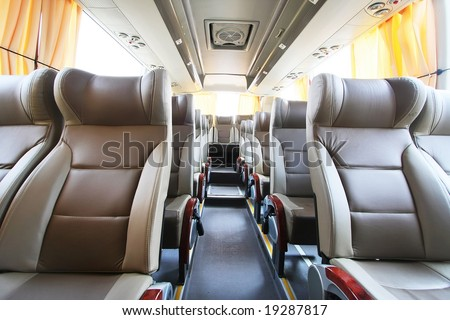 Empty Bus Interior - stock photo