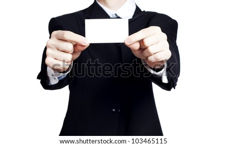 Empty business blank in man�s hands - stock photo