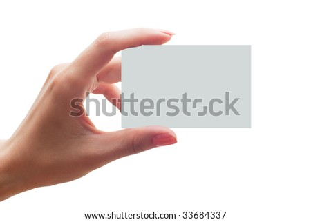 empty business card in a hand - stock photo