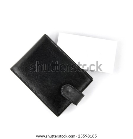 Empty business card with card holder isolated on white - stock photo