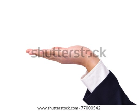Empty business man's hand held up isolated on white - stock photo