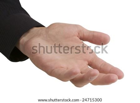 Empty businessman's hand on white background - stock photo