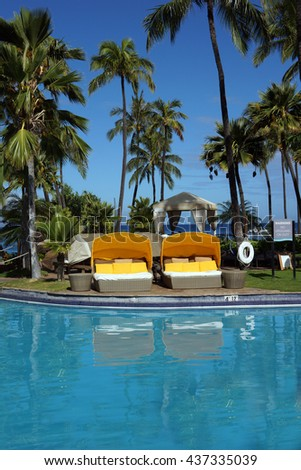 Empty cabanas at a resort in Maui      - stock photo