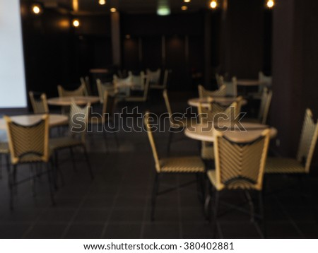 Empty cafe in the dark and blurred