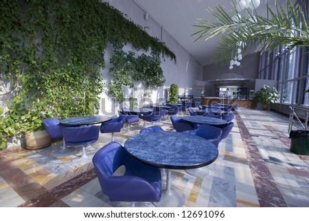 empty cafe interior perspective - stock photo
