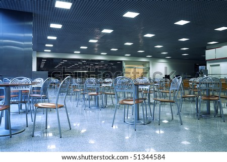 Empty cafe interior. Tint blue - stock photo