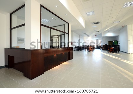 empty cafeteria interior- reception with restaurant