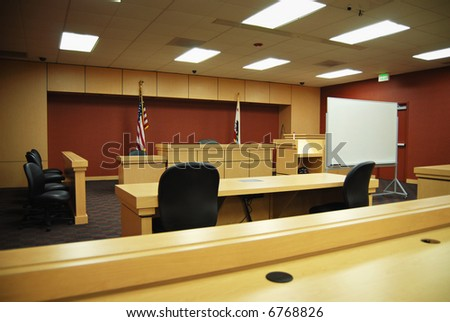 Empty California courtroom with modern, sparse furnishings - stock photo