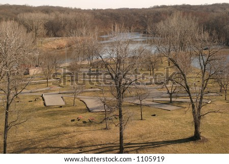 Empty Campground - in Winter time - Coralville, near Iowa City, Iowa