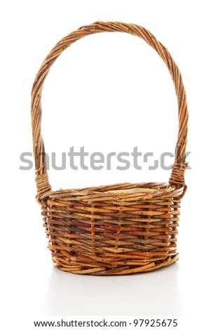 Empty cane basket isolated on white background