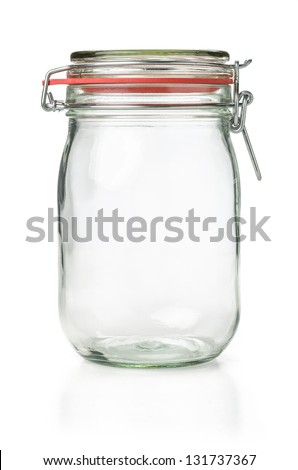 empty canning jar on a white background