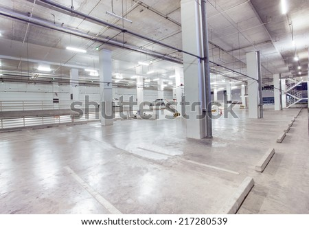 empty car parking lot in modern building design with convenience service