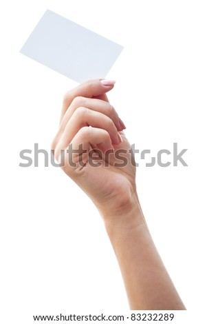 empty card in a hand isolated on a white background - stock photo