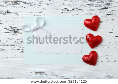 Empty card with hearts - stock photo