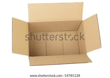 empty cardboard box isolated on the white backgrou d