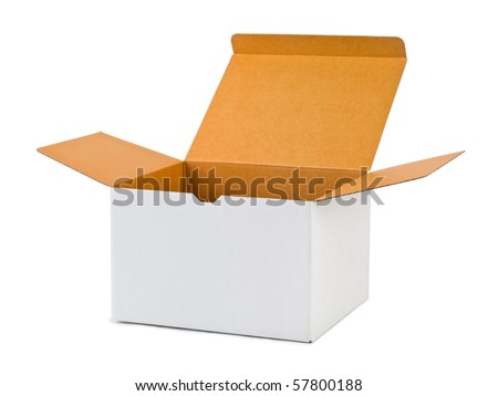 Empty cardboard box isolated on white background - stock photo
