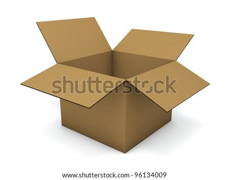 Empty cardboard box isolated on white background. - stock photo