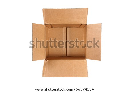 empty cardboard box isolated on white background - top view - stock photo