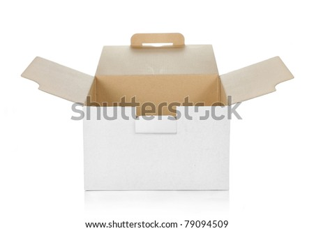 empty cardboard box with copy space - stock photo