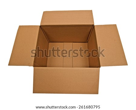 Empty Cardboard Box With Flaps Out - stock photo