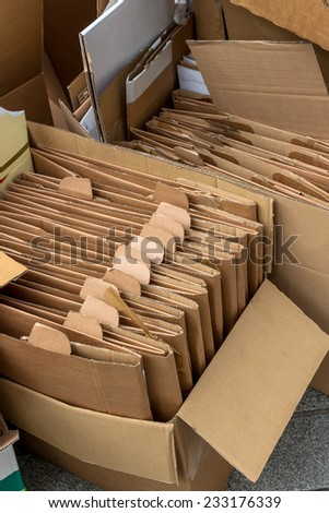 empty cardboard boxes for the collection of waste paper - stock photo