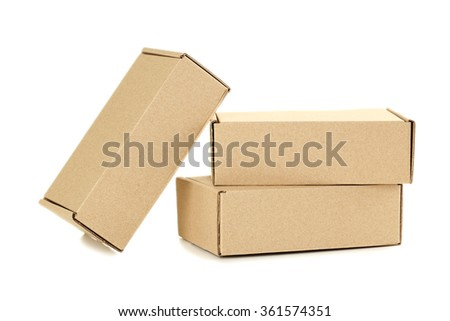 Empty cardboard boxes isolated on a white