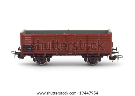 Empty cargo wagon isolated on white background