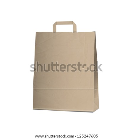 Empty Carrier brown bag on white.Raster version